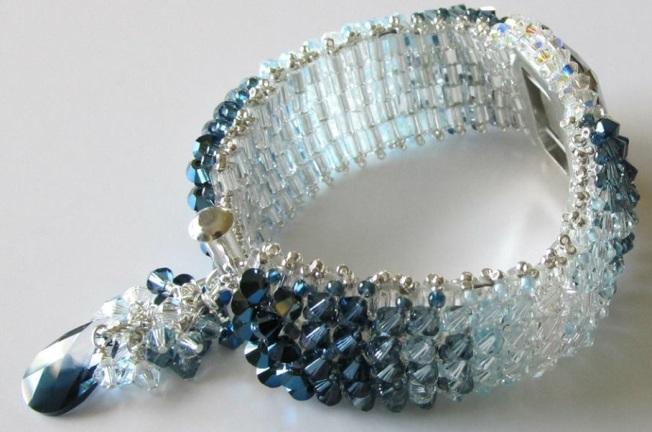Swarovski Crystal Beaded Bracelet Crystal Montana Blend