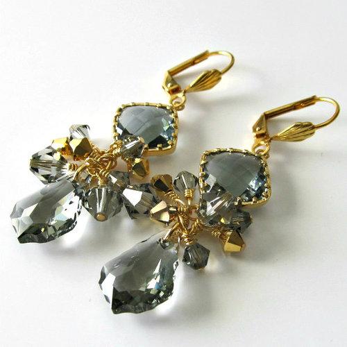 Swarovski Crystal Earrings 6090 Baroque Pendants Black Diamond