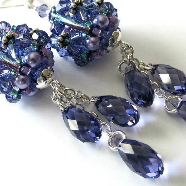 Swarovski Crystal Earrings Tanzanite Beaded drops