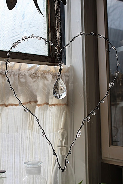 DIY Crystal Heart and beaded wire hanging mobil