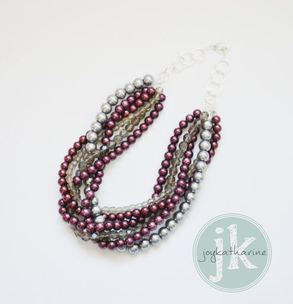 Marsala pearl and crystal necklace with silver tones
