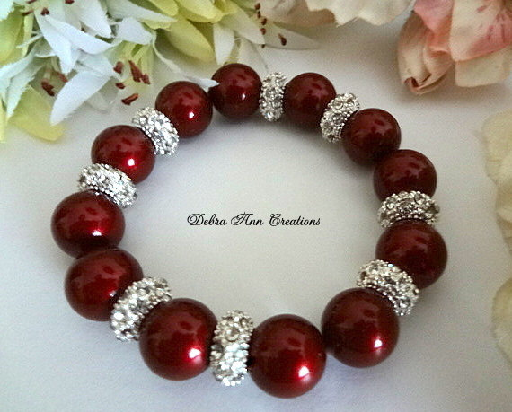 Swarovski Crystal Pearl Bordeaux Bracelet with silver pave beads