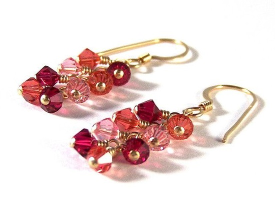 Swarovski Crystal Ruby, Padparadascha and Light Rose Earrings