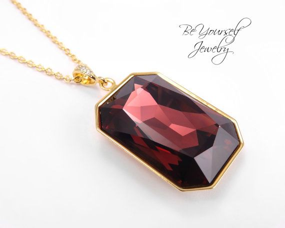 Swarovski Marsala Burgundy Emerald Cut Necklace