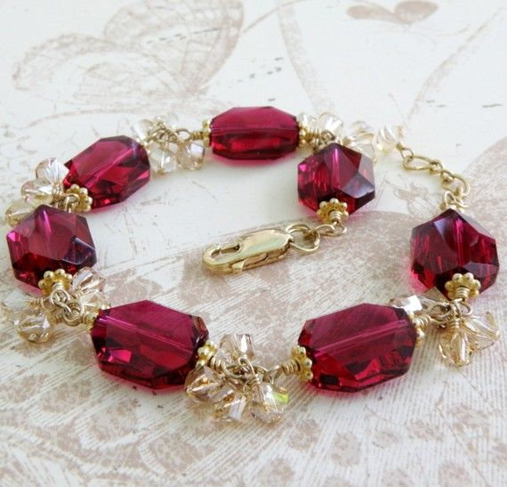 Swarovski Marsala Ruby and Gold Bracelet