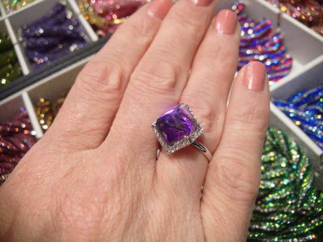Swarovski 5600 Cube Ring Purple
