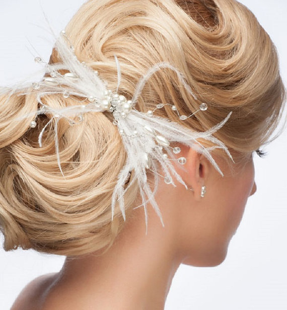 Swarovski crystal and feather bridal hair accessory