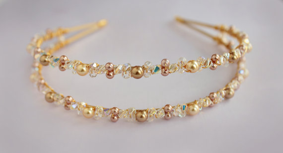 Swarovski crystal and pearl bridal headband