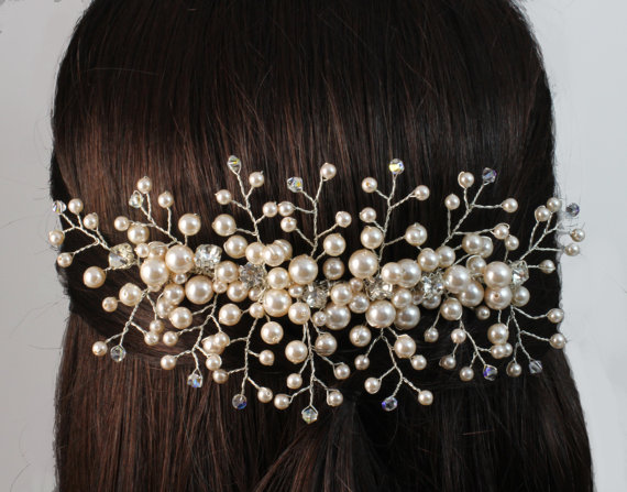 Swarovski crystal and pearl comb bridal accessories