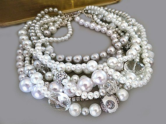 Chunky Pearl and Crystal Necklace
