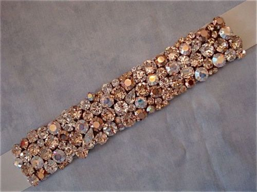 Crystal rose gold wedding sash