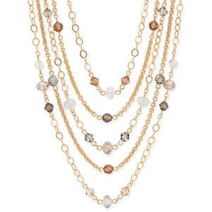 Dainty layered crystal necklaces
