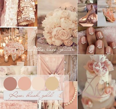 Rose blush rose and gold wedding color inspirations