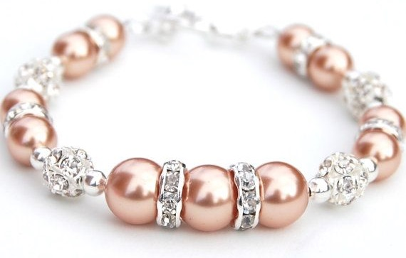 Rose Gold Swarovski Pearls and crystal wedding bracelet