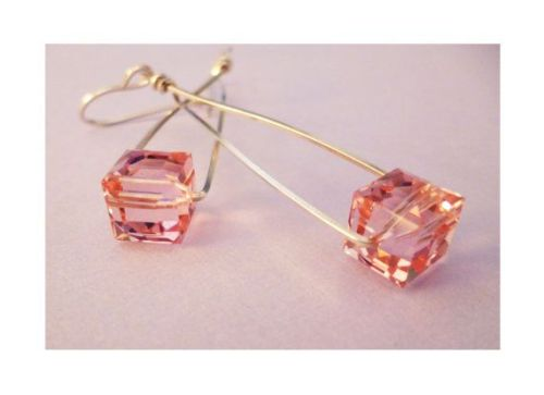 Swarovski 5601 Cube Beads Rose Peach Bridesmaids Earrings