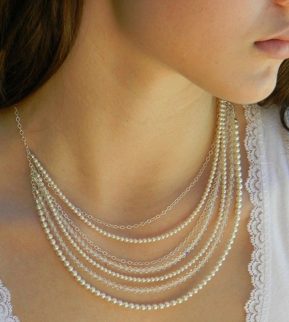 Swarovski Crystal and Pearl layered necklaces 2015 jewelry trends