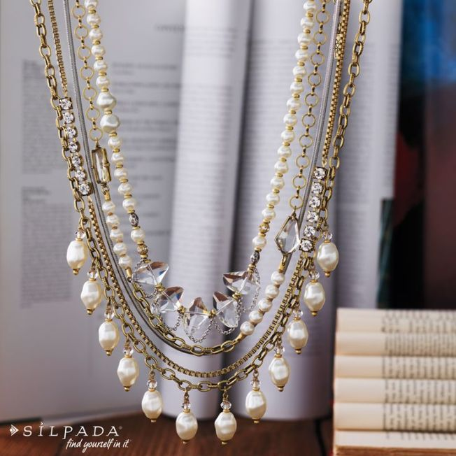 Swarovski Crystal and pearl layered necklaces