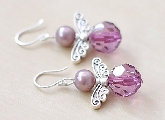 Swarovski Crystal Angel Earrings Purple