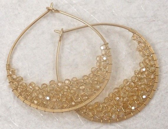 Swarovski Crystal Golden Shadow and Gold Earrings