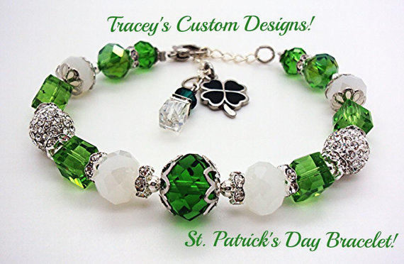 Swarovski Crystal St. Patricks Day Bracelet Cubes