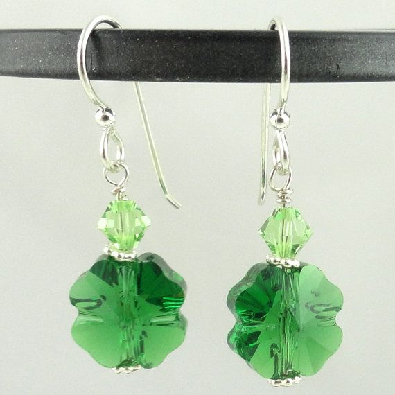Swarovski Crystal St. Patricks Day Jewelry Clover Earrings