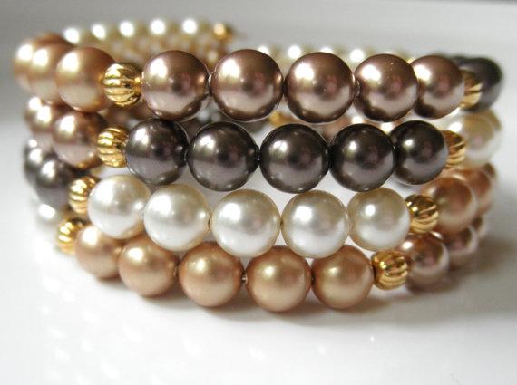 Swarovski Pearl Bracelet Multi Stranded Memory Wire
