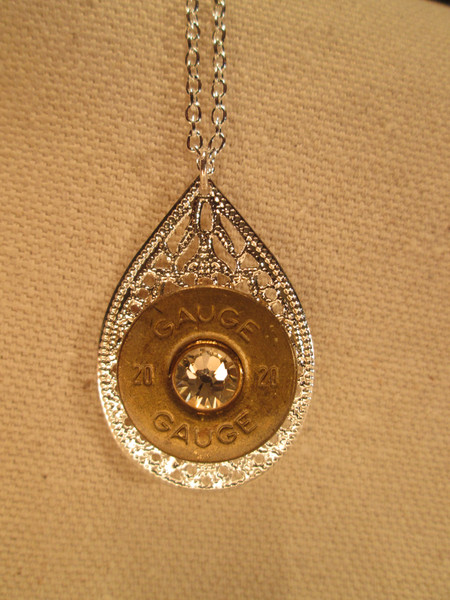 Badass Babe jewelry with Swarovski Crystal and Shotshell silver teardrop pendant