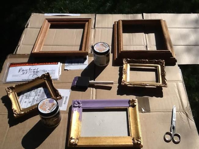 DIY painting frames and adding Swarovski Crystals