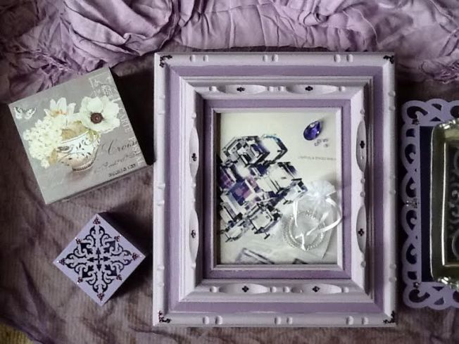 Lavendar frames and crystals for tradeshow