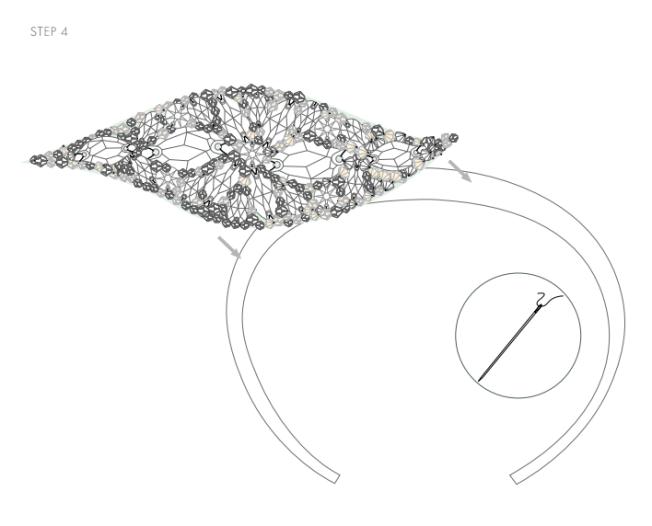 DIY Swarovski Crystal wedding Head Band Piece Step 4