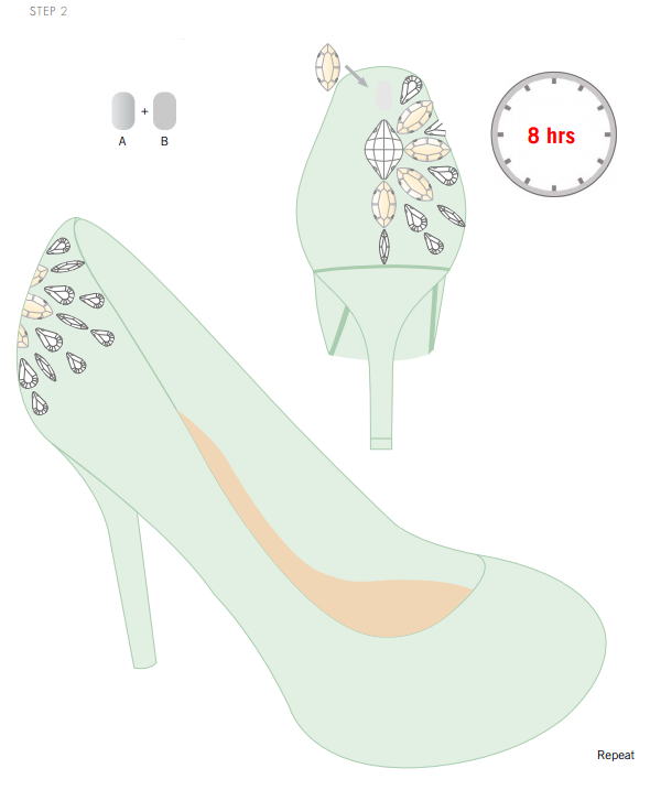 DIY Swarovski Crystal Wedding Shoes Step 2