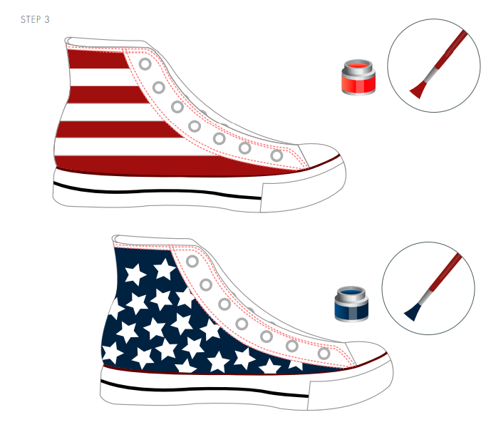 Get your crafty kicks on this 4th of july celebrate for Diy shoes design