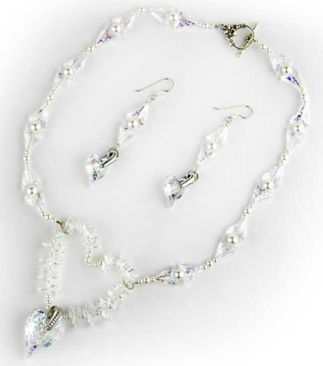 DIY Swarovski Crystal Heart Necklace Bridal designs and instructions