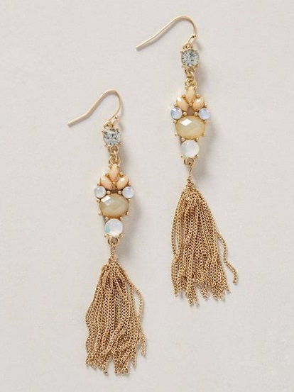 Crystal Earrings with chain tassels