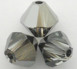 Swarovski Crystal Bicone Beads Crystal Silver Night