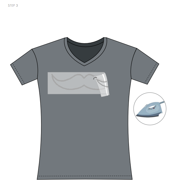 Swarovski Crystal Moustache Tee Shirt Design and Free Instructions Step 3