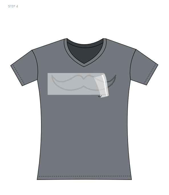 Swarovski Crystal Moustache Tee Shirt Design and Free Instructions Step 4