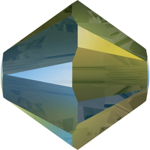 Swarovski_5328_BiconeBeads_Crystal_Iridescent_Green