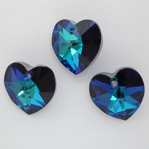 Swarovski Crystal Bermuda Blue Heart Pendants