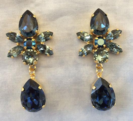 Swarovski Crystal deep blue earrings