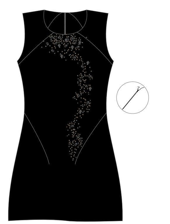 DIY Swarovski Crystal Little Black Dress Design and Instructions Step 2