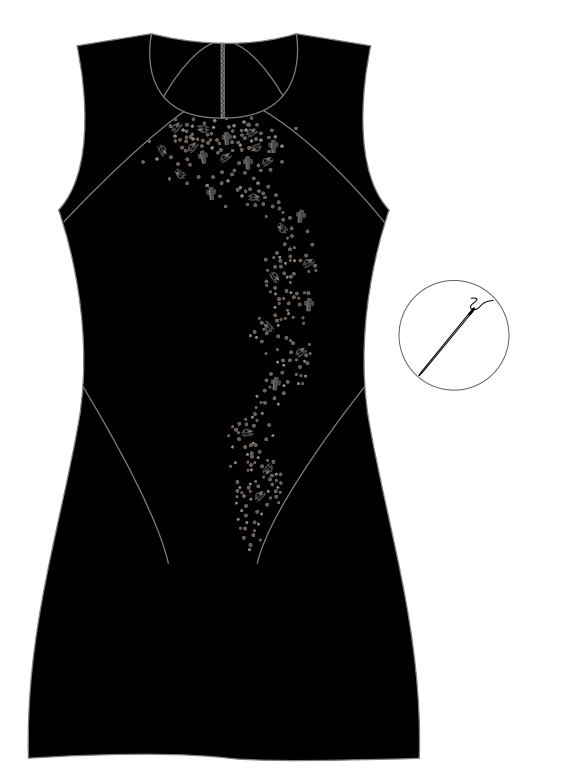 DIY Swarovski Crystal Little Black Dress Design and Instructions Step 2