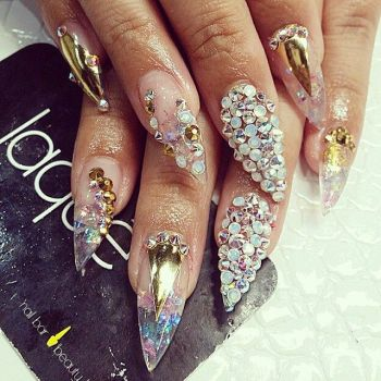 nail art with Swarovski Crystals