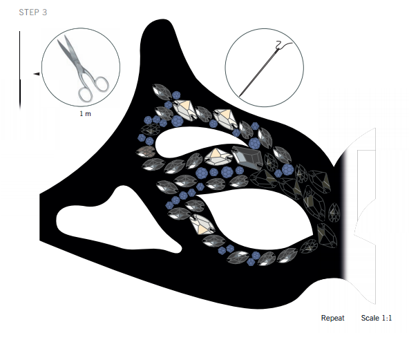 Swarovski Crystal Halloween Mask DIY Steps and instruction step 3