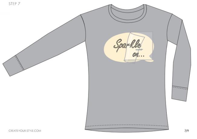 DIY Sparkle on shirt embellished with Swarovski Crystal Flatback Rhinestones jet black step by step instructions 7