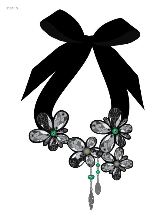 DIY Free Design and Instructions Swarovski Crystal Necklace Frozen Florets Step 10