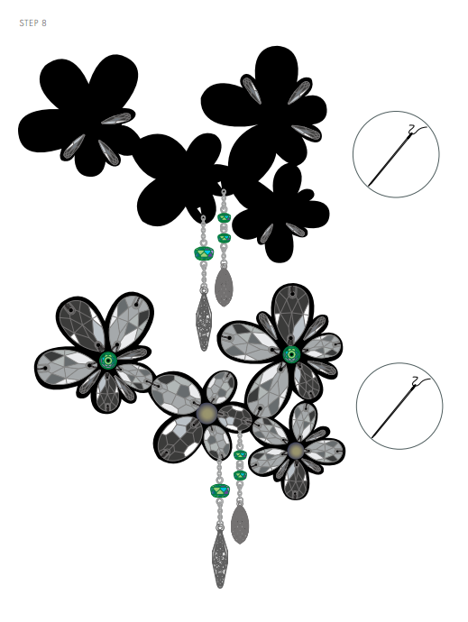 DIY Free Design and Instructions Swarovski Crystal Necklace Frozen Florets Step 8