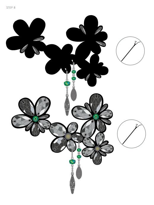 DIY Free Design and Instructions Swarovski Crystal Necklace Frozen Florets Step 8