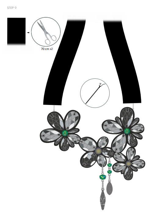 DIY Free Design and Instructions Swarovski Crystal Necklace Frozen Florets Step 9