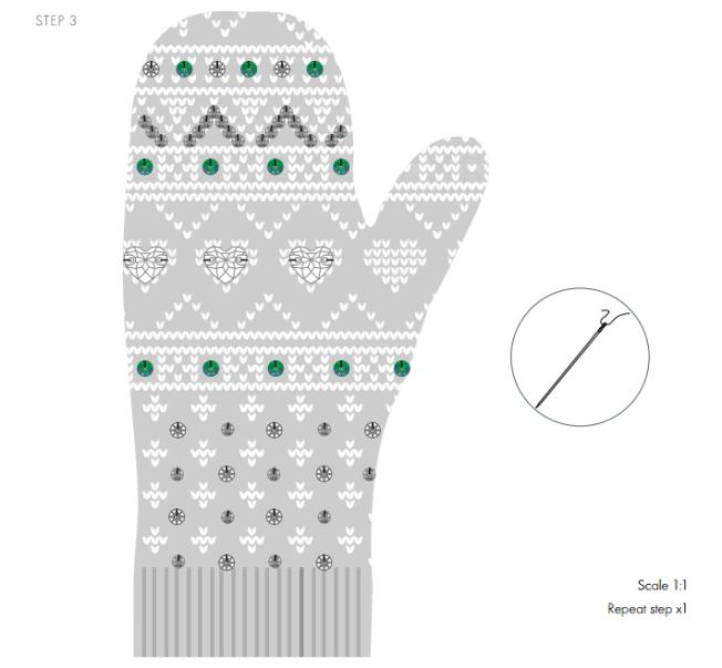 DIY Mittens with Swarovski Crystal embellishments free instructions 3